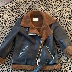 Zara Suede Faux Fur Biker Jacket
